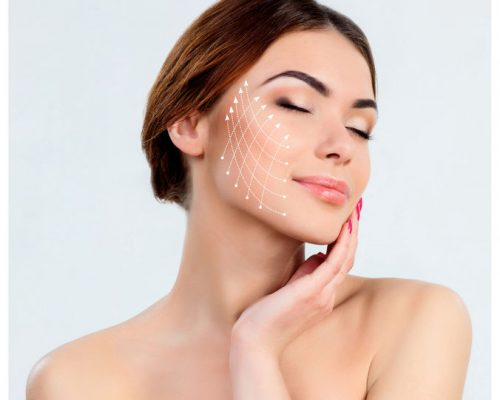 54265656 - the young female with clean fresh skin, antiaging and thread lifting concept