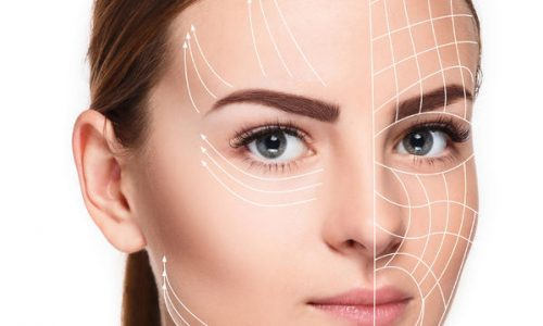 52472233 - the young female with clean fresh skin, antiaging and thread lifting concept